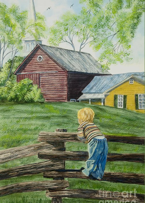 Country Kids Art Greeting Card featuring the painting Farm Boy by Charlotte Blanchard