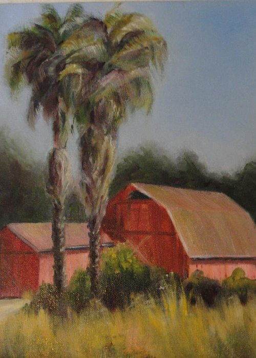 Barn Greeting Card featuring the painting Farm Girls by Nancy Atherton Cheadle