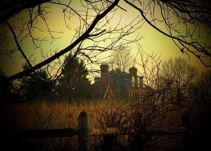 Country Greeting Card featuring the photograph Farm House Fence by Michael L Kimble