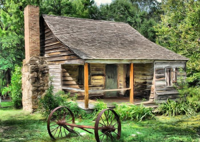 Cabin Greeting Card featuring the painting Farm House by Steven Richardson