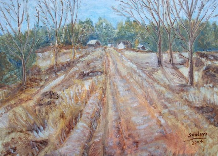 Landscape Greeting Card featuring the painting Farm In Fall by Joseph Sandora Jr