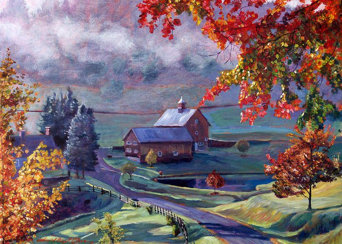Landscape Greeting Card featuring the painting Farm In The Dell by David Lloyd Glover