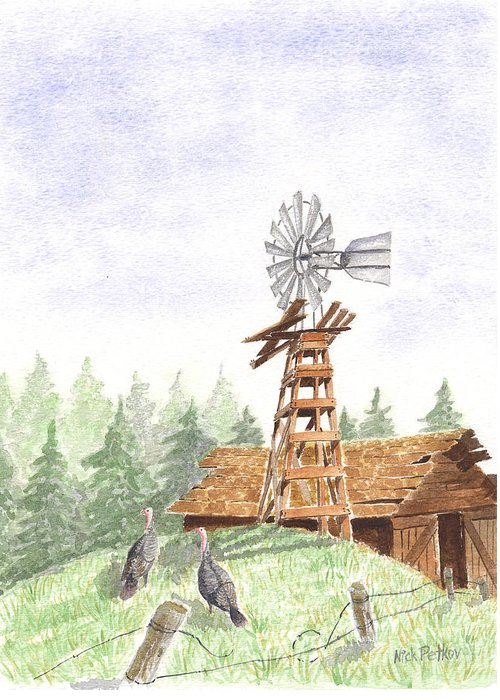 Farm Greeting Card featuring the painting Farm by Nick Petkov