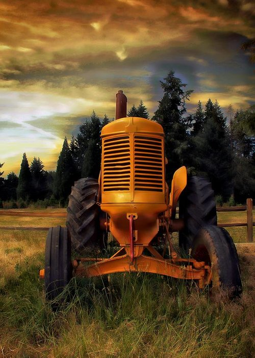 Tractor Greeting Card featuring the photograph Farm On by Aaron Berg