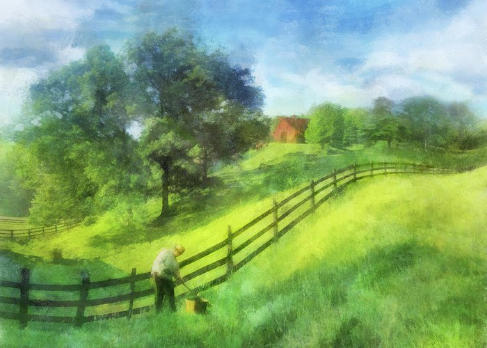 Farm Greeting Card featuring the digital art Farm On The Hill by Francesa Miller