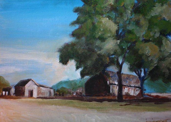 Farm Greeting Card featuring the painting Farm Shadows by Jun Jamosmos