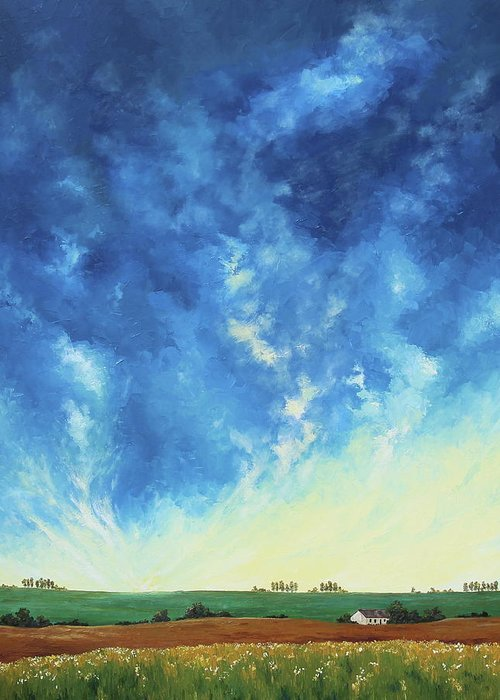Landscape Greeting Card featuring the painting Sunrise In The South by Alejandra Pineiro