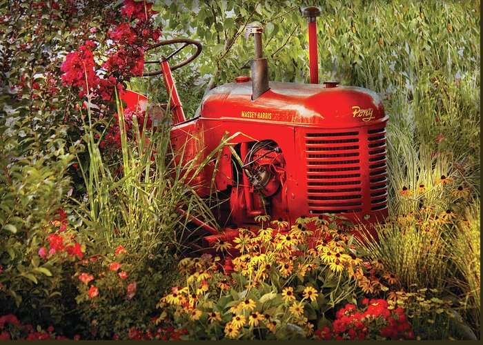 Savad Greeting Card featuring the photograph Farm - Tractor - A Pony Grazing by Mike Savad