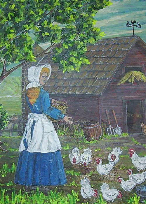 Barn Greeting Card featuring the painting Farm Work I by Phyllis Mae Richardson Fisher