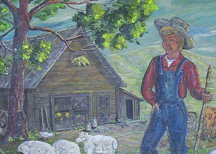Barn Greeting Card featuring the painting Farm Work II by Phyllis Mae Richardson Fisher