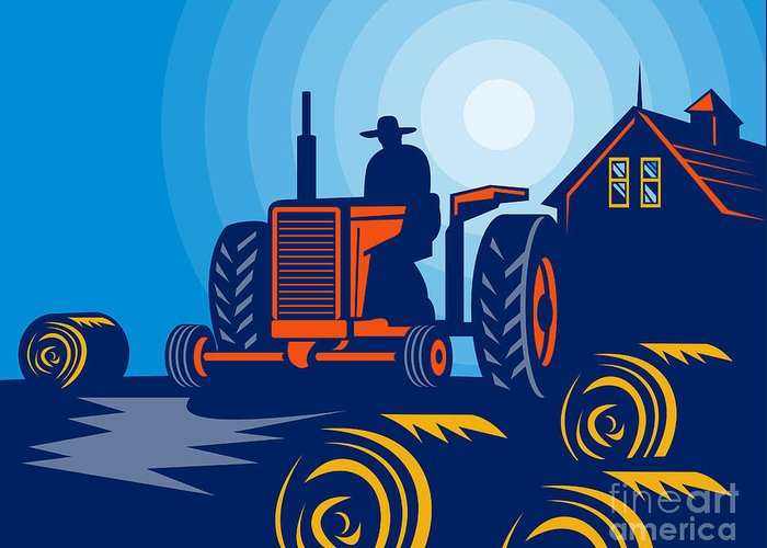 Tractor Greeting Card featuring the digital art Farmer Driving Vintage Tractor by Aloysius Patrimonio