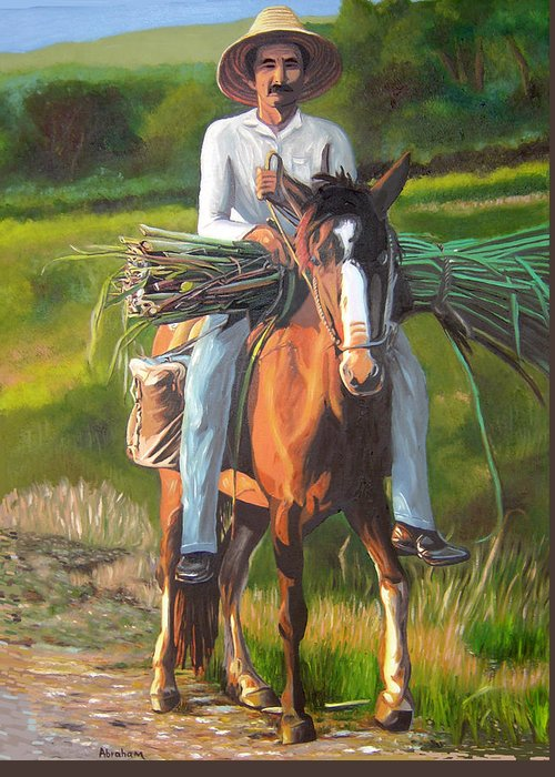 Cuban Art Greeting Card featuring the painting Farmer On A Horse by Jose Manuel Abraham