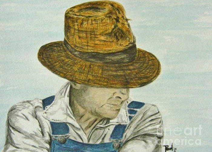 Portrait Greeting Card featuring the painting Farmer Ted by Regan J Smith