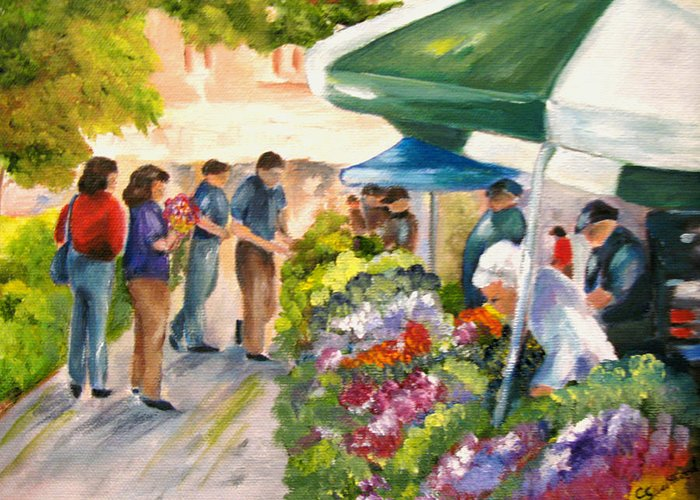 People Greeting Card featuring the painting Farmer's Market by Carol Sweetwood