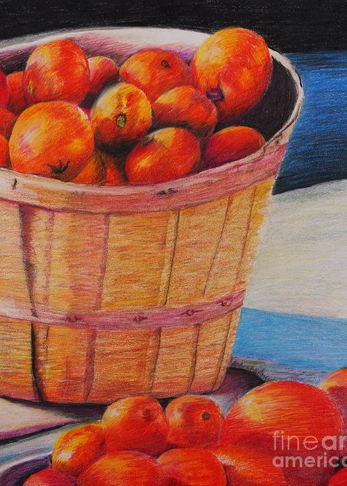 Produce In A Basket Greeting Card featuring the drawing Farmers Market Produce by Nadine Rippelmeyer