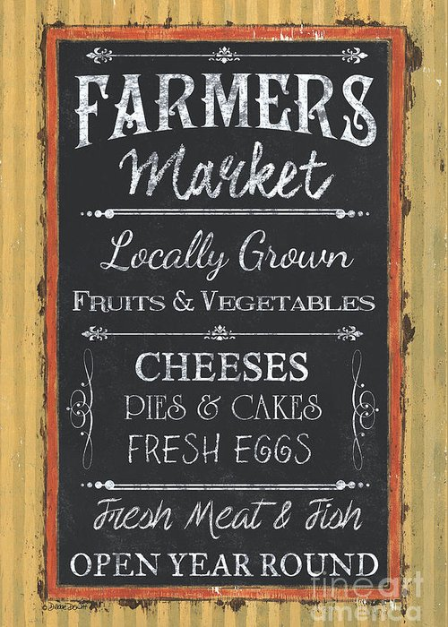 Farm Greeting Card featuring the painting Farmer's Market Signs by Debbie DeWitt