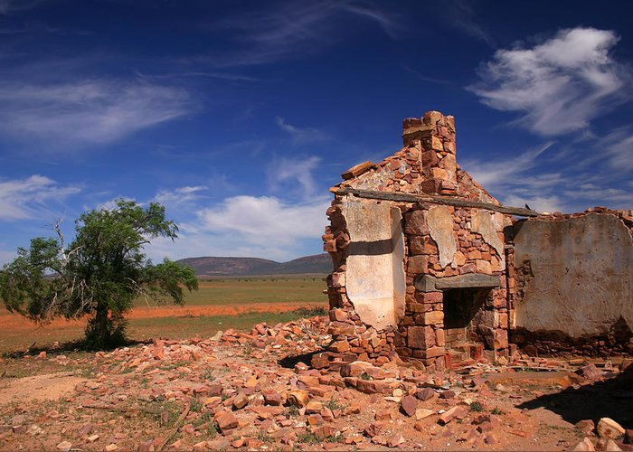 Cottage Greeting Card featuring the photograph Farmhouse Cottage Ruin Flinders Ranges South Australia by Ralph A Ledergerber-Photography