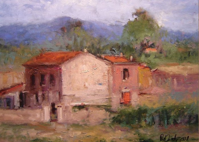 Tuscany Greeting Card featuring the painting Farmhouse In Tuscany by R W Goetting