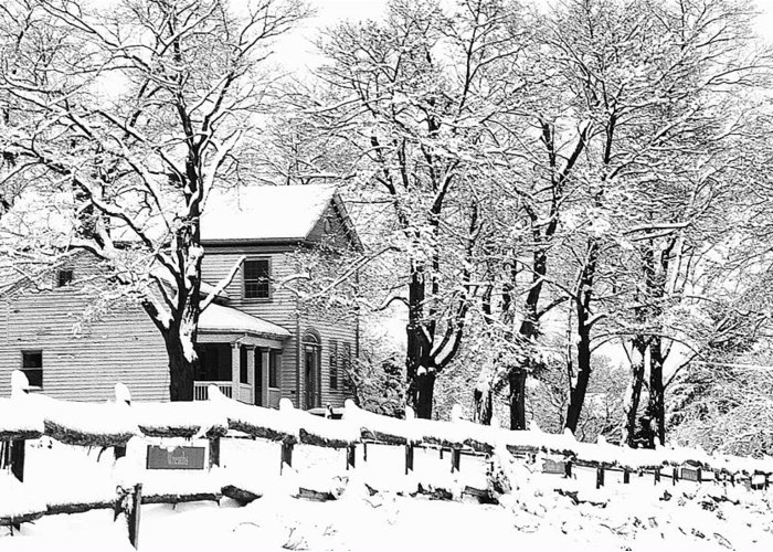 Blizzard Greeting Card featuring the photograph Farmhouse In Winter by Roger Soule