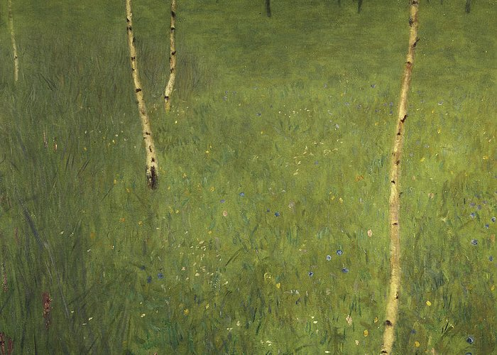 Farmhouse Greeting Card featuring the painting Farmhouse With Birch Trees by Gustav Klimt