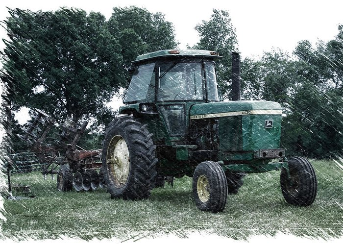Agricultural Greeting Card featuring the photograph Farming John Deere 4430 Pa 01 by Thomas Woolworth
