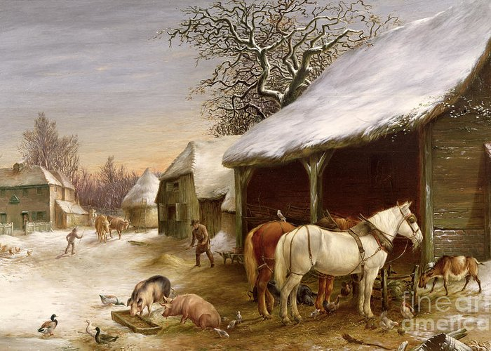 Gg14441 Greeting Card featuring the painting Farmyard In Winter by Henry Woollett