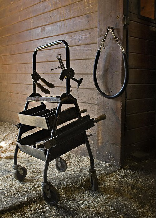 Horse Greeting Card featuring the photograph Farriers Tools by Jack Goldberg