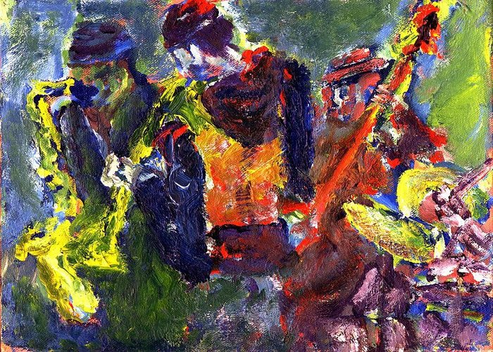 Live Jazz Quartet Greeting Card featuring the painting Faruq And Skeeter by Don Thibodeaux
