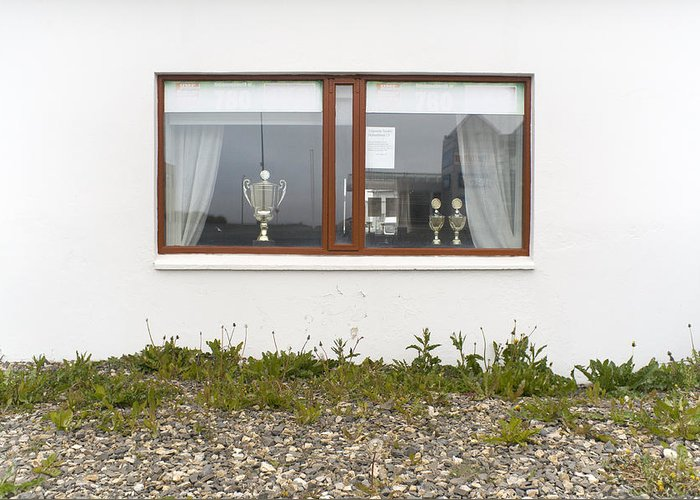 Window Greeting Card featuring the photograph Facade - A Window With A Trophy To Show by Kobi Amiel