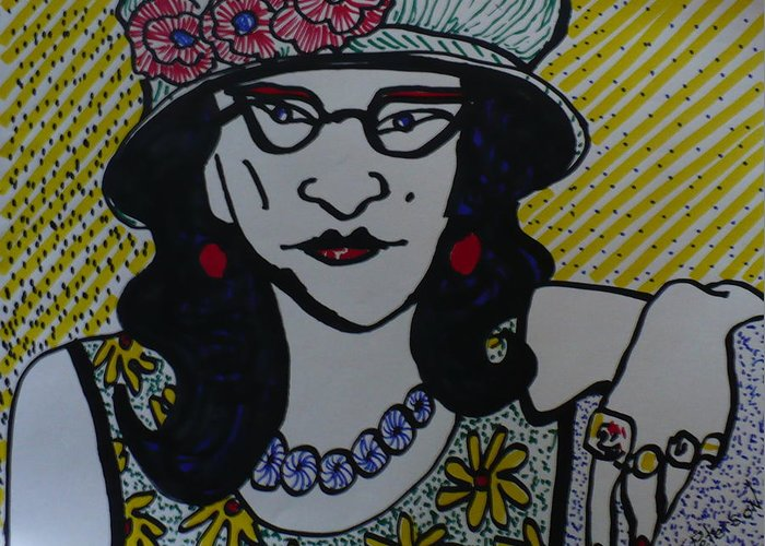 Woman Greeting Card featuring the drawing Fashion Statement by Todd Peterson