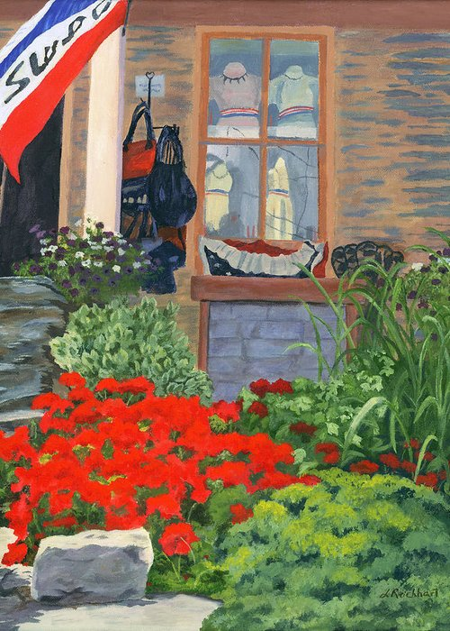 Landscape Greeting Card featuring the painting Fashionista by Lynne Reichhart