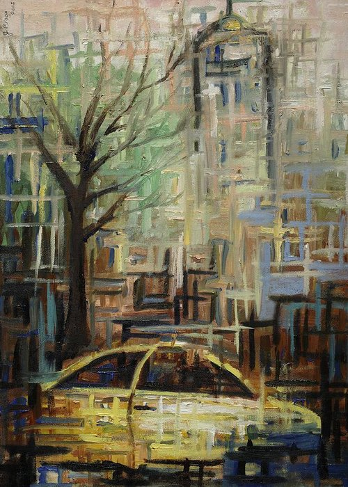 Manhattan Greeting Card featuring the painting Fast City II by Janel Bragg