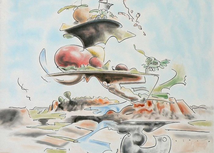 Abstract Greeting Card featuring the painting Fast Food by Dave Martsolf