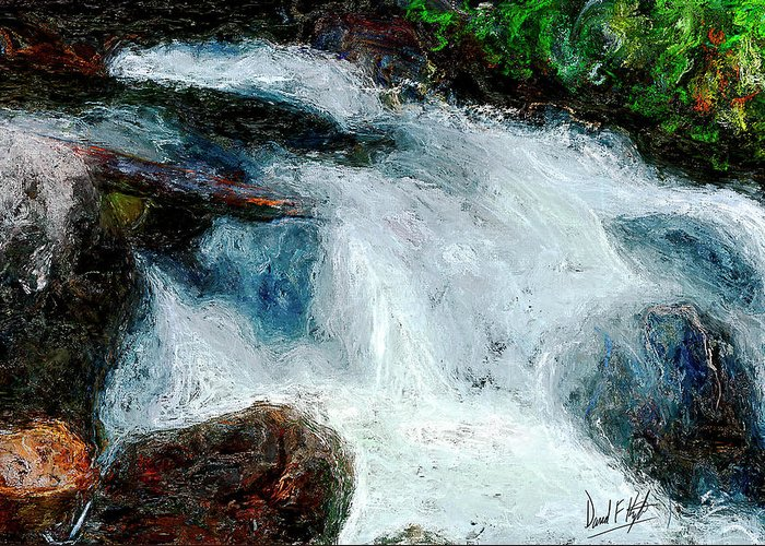 Water Fall Greeting Card featuring the painting Fast Water by David Kyte