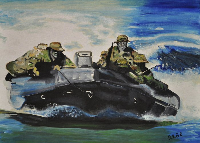 Navy Seals Greeting Card featuring the painting Fast With Fury by Ruben Barbosa