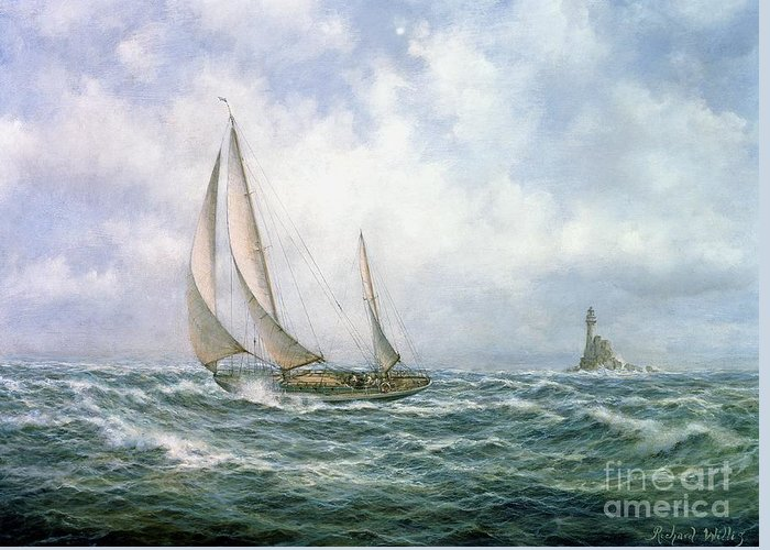 Seascape; Sea; Water; Sailing; Sail Boat; Boat; Lighthouse; Rock; Rocks; Rocky; Sky; Cloud; Clouds; Wave; Waves Greeting Card featuring the painting Fastnet Abeam by Richard Willis