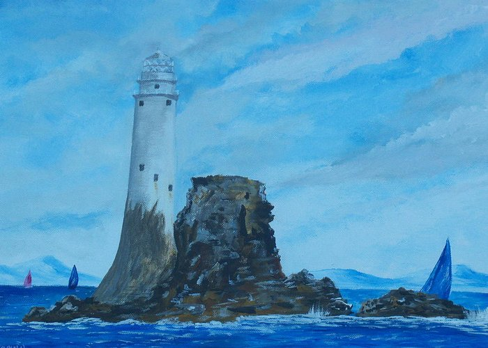 Schull Greeting Card featuring the painting Fastnet Rock Lighthouse. by Conor Murphy