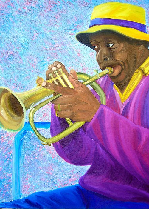Street Musician Greeting Card featuring the painting Fat Albert Plays The Trumpet by Michael Lee