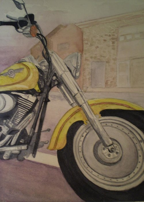 Motorcycle Greeting Card featuring the painting Fat Boy by Alyson Harris