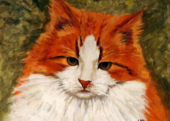 Cats Greeting Card featuring the painting Fat Cat by Lia Marsman