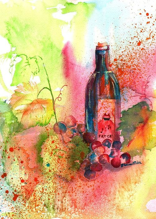 Fat Cat Greeting Card featuring the painting Fat Cat Wine by Sharon Mick