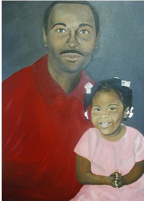 Portrait Greeting Card featuring the painting Father And Daughter by Angelo Thomas