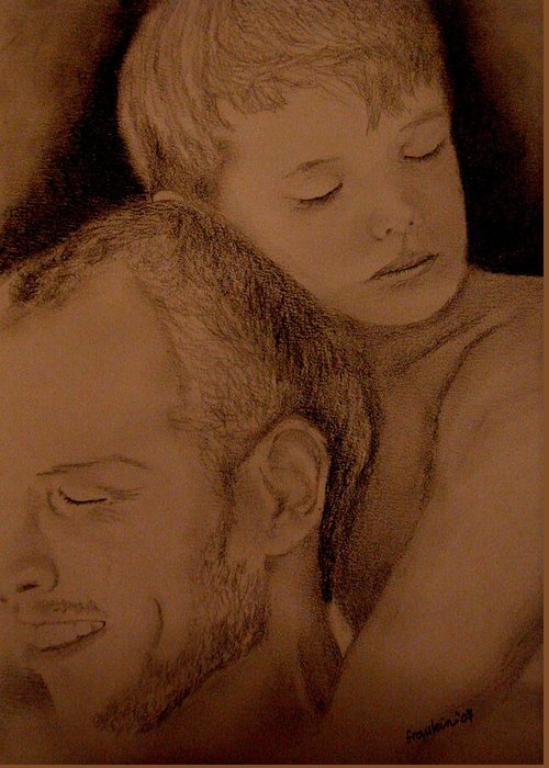 Portrait Greeting Card featuring the painting Father And Son by Glory Fraulein Wolfe