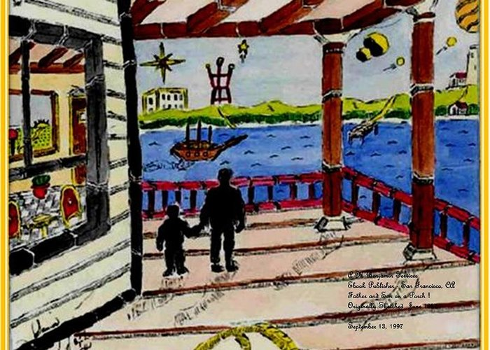 Boy Greeting Card featuring the painting Father And Son On The Porch by Anthony Benjamin