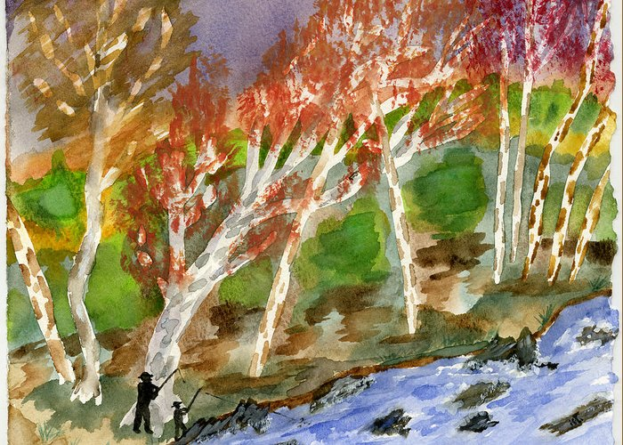 Watercolor Greeting Card featuring the painting Father And Son by Warren Thompson