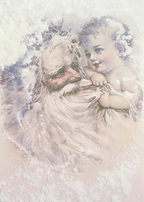 Father Christmas And A Child Greeting Card for Sale by English School