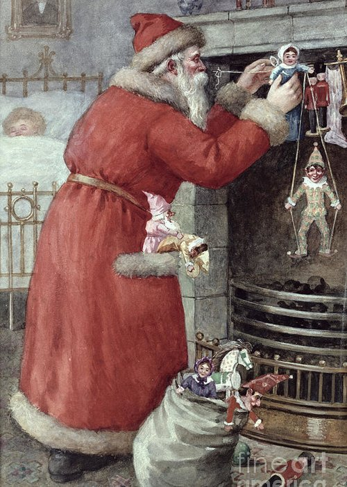 Father Greeting Card featuring the painting Father Christmas by Karl Roger