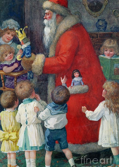 Father Christmas With Children By Karl Roger (b.1879) Greeting Card featuring the painting Father Christmas With Children by Karl Roger