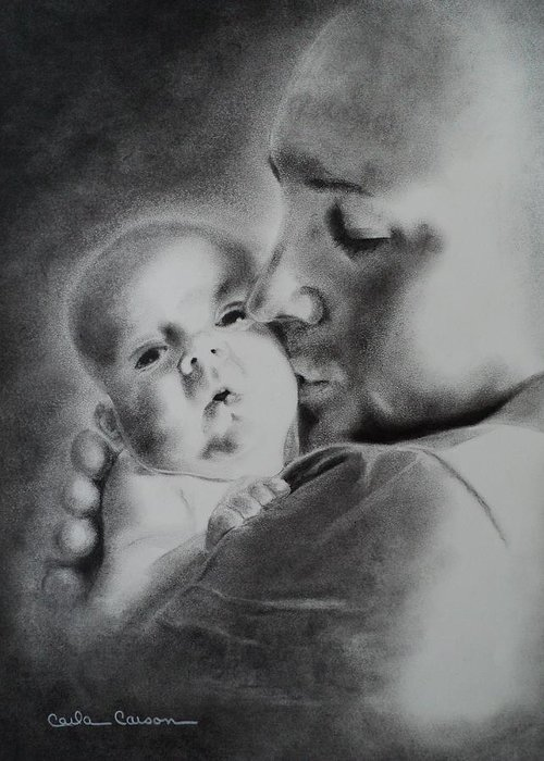 Father Greeting Card featuring the drawing Father N Son by Carla Carson