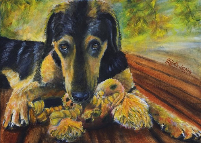 Dog Greeting Card featuring the painting Favorite Things by Nik Helbig